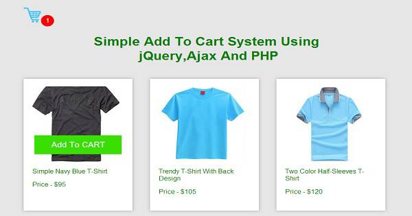 Simple Add To Cart System Using jQuery,Ajax And PHP
