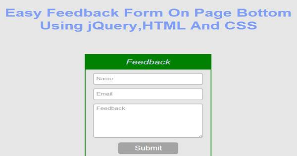 2019 updated  easy feedback form on page bottom using