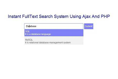 Basic Instant FullText Search System Using Ajax And PHP