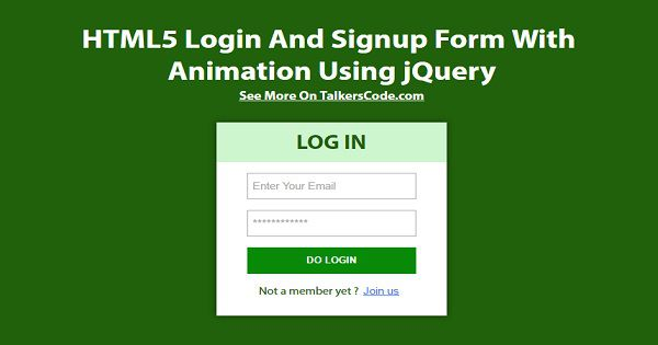 how to create registration form in html using jquery