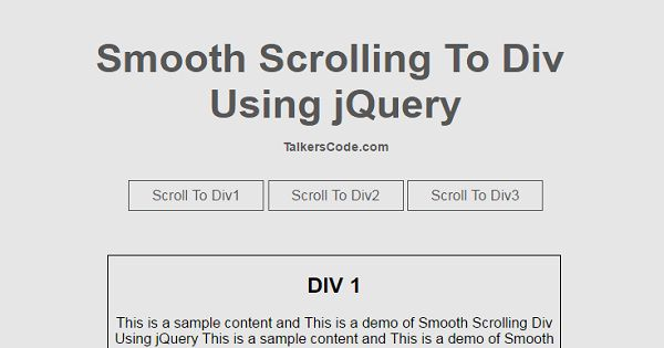 Smooth scrolling to div using jquery - Jquery scroll to div ...