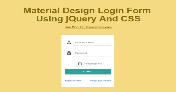 Material Design Login Form Using jQuery And CSS