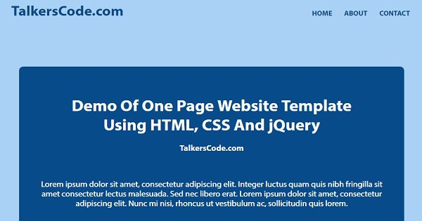 One Page Website Template Using HTML, CSS And jQuery