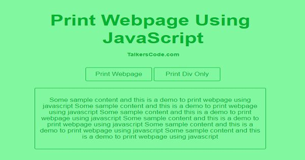 Print Webpage Using JavaScript