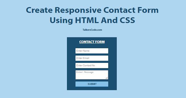 2019 Updated] Create Responsive Contact Form Using HTML And CSS