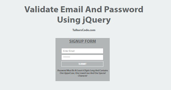 Validate Email And Password Using jQuery