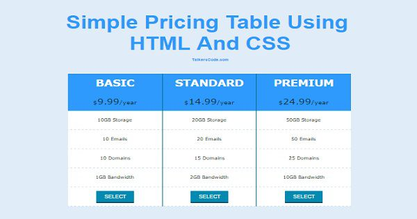 Simple pricing table using html and css - Html code for creating table ...